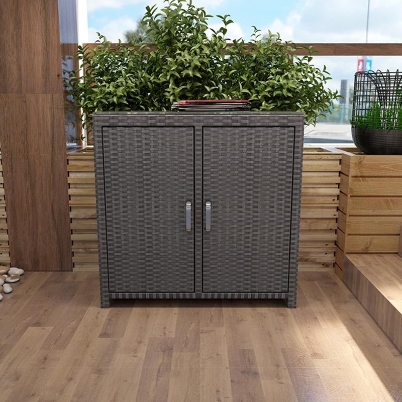 室外鞋柜簡約防曬藤編現代家用門口門外多層鞋柜帶門多功能儲物柜日用儲物柜