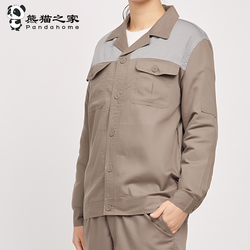 男女長袖工作服套裝夏倉儲物流工程機電勞保工裝車間工廠服印LOGO熊貓之家