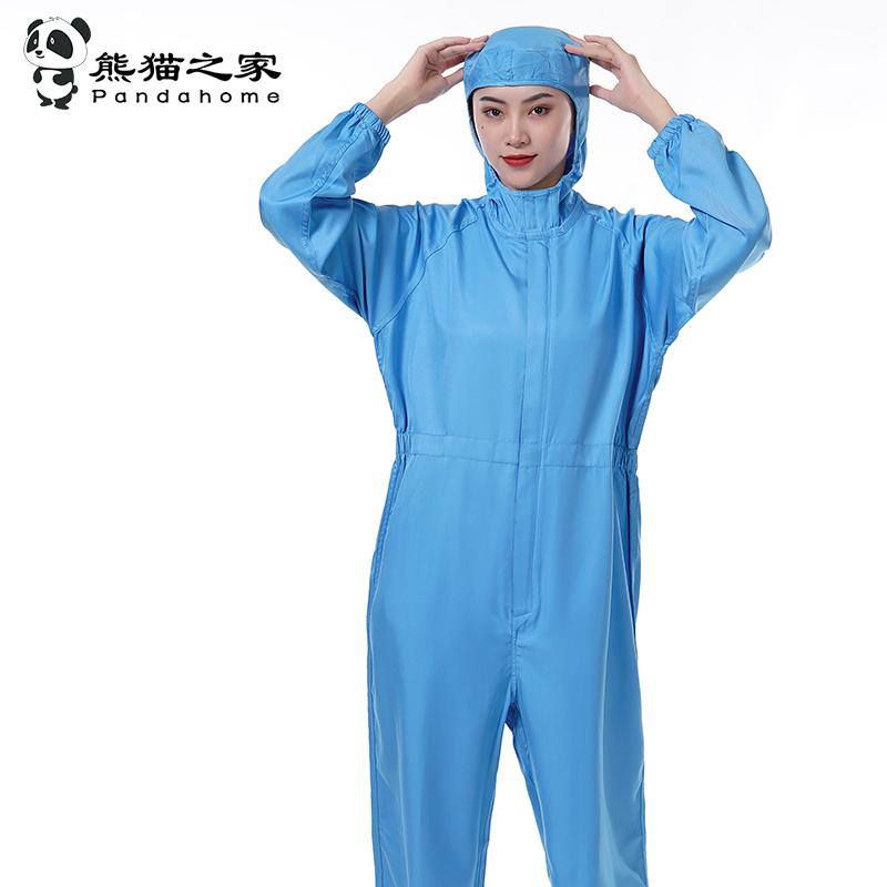 熊貓之家連帽連體食品工作服車間定做男女同款純色優質易洗速干食品服