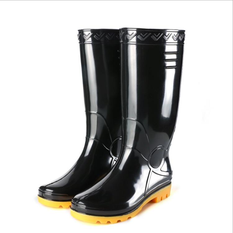 馳庭黑色加厚圓頭高筒雨鞋 防水防滑勞保雨靴 耐磨耐酸堿農活水鞋