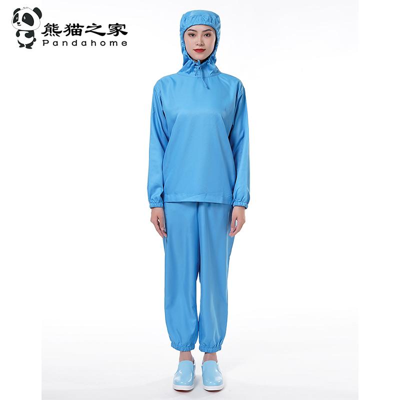 熊貓之家套頭連帽食品工作服藍色白色長袖吸汗透氣拉繩